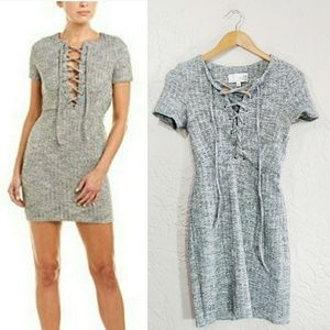 J.O.A. Ribbed Lace Up Fitted Mini Dress